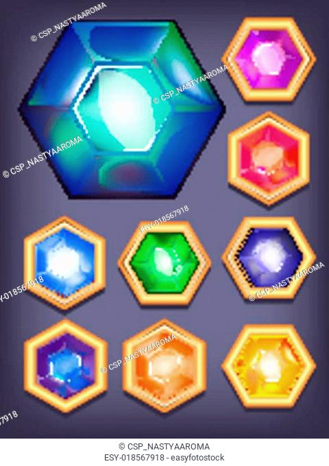 Vector set of colorful shiny jewel