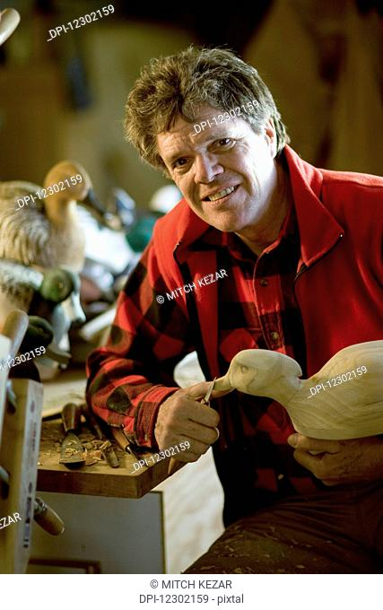 Carving Duck Decoys in Wood Shop