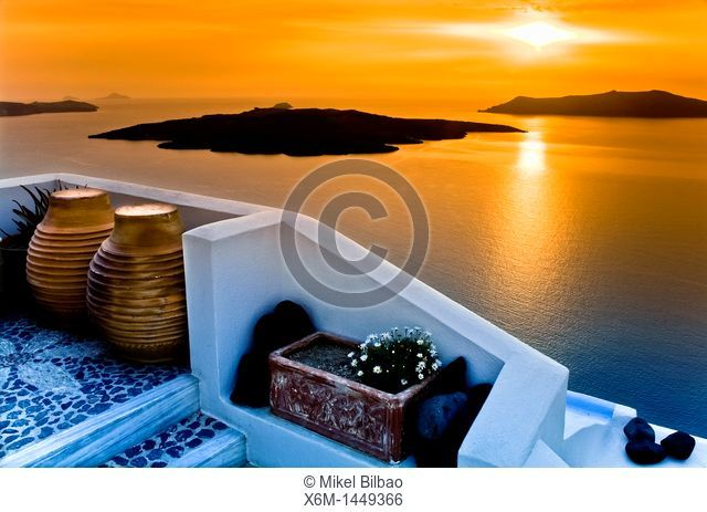 Caldera view from Fira village at sunset  Santorini island, Cyclades islands, Aegean Sea, Greece, Europe