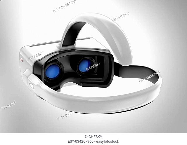 White VR headset isolated on gray background. 3D rendering image with clipping path. Original design