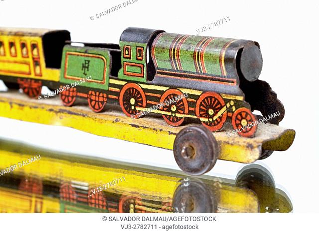 vintage,old toy,sheet metal locomotive,studio photography girona,catalonia,spain,