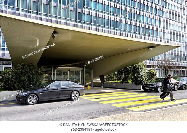 main entrance to WHO - World Health Organization - Headquarters building in Geneva, Switzerland