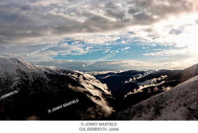 Scenic view of mountains, Fagaras, Brasov, Romania, Europe
