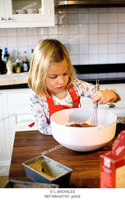 A girl baking
