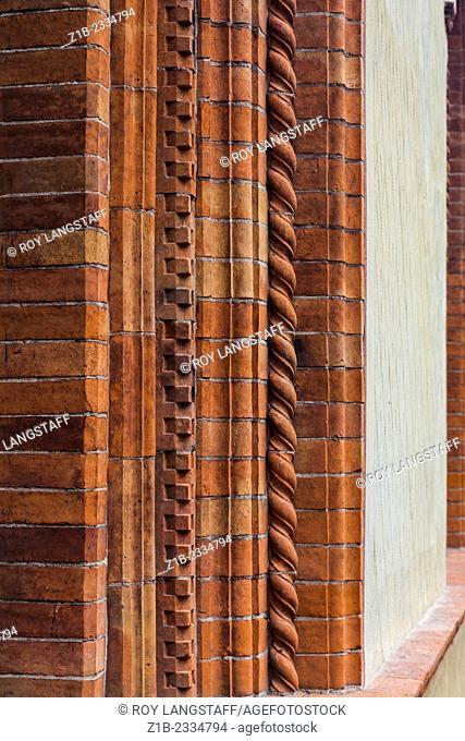 Decorative brickwork in the Castello Sforzesca, Milano, Italy