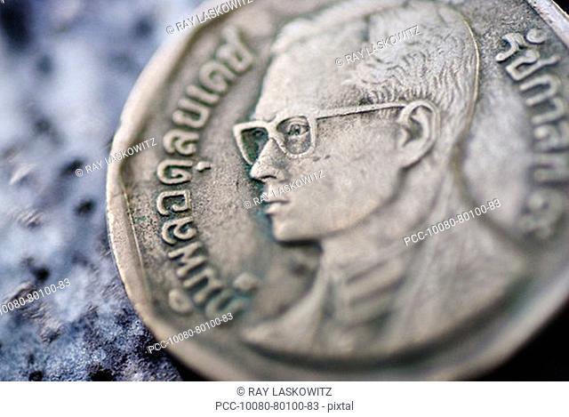 Close-up detail of an asian coin, Thai baht