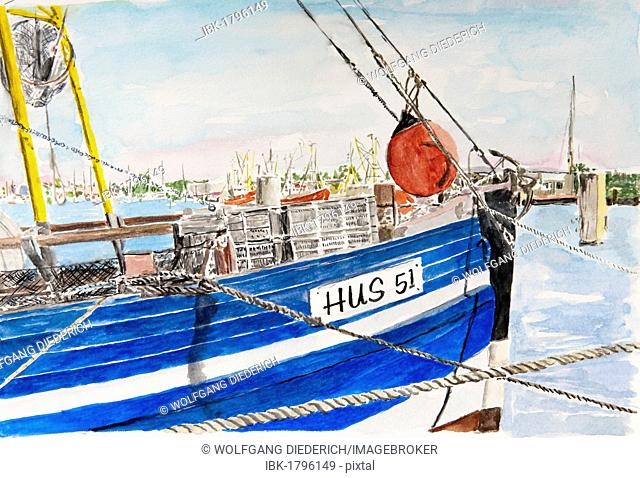Shrimp boat in the port of Husum, Husum, North Sea, North Frisia, Schleswig-Holstein, northern Germany, painted in watercolours by Gerhard Kraus, Kriftel