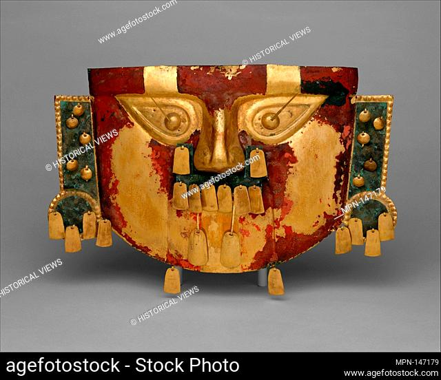 Funerary Mask. Date: 10th-11th century; Geography: Peru; Culture: Sicón (Lambayeque); Medium: Gold, copper overlays, cinnabar; Dimensions: H