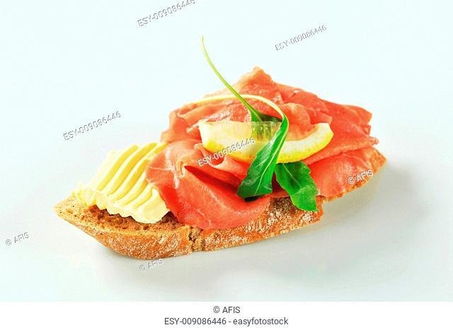 Beef Carpaccio open faced sandwich
