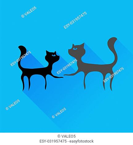 Two Cats Silhouettes Isolated on Blue Background