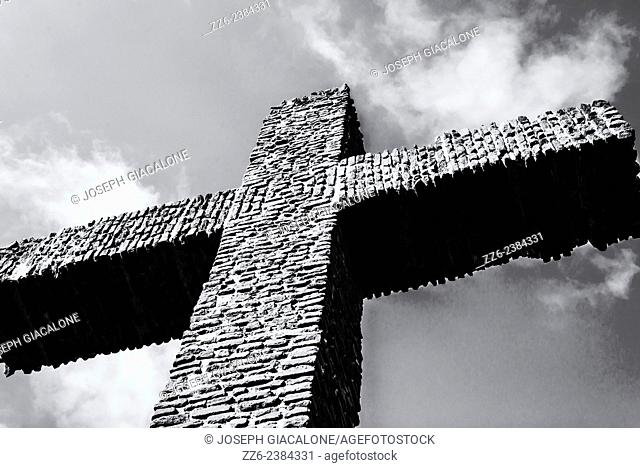 The Serra Cross in black and white. Presidio Park, San Diego, California, United States