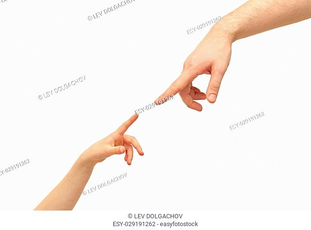 family, childhood, fatherhood and people concept - happy father and child holding hands pointing fingers to each other