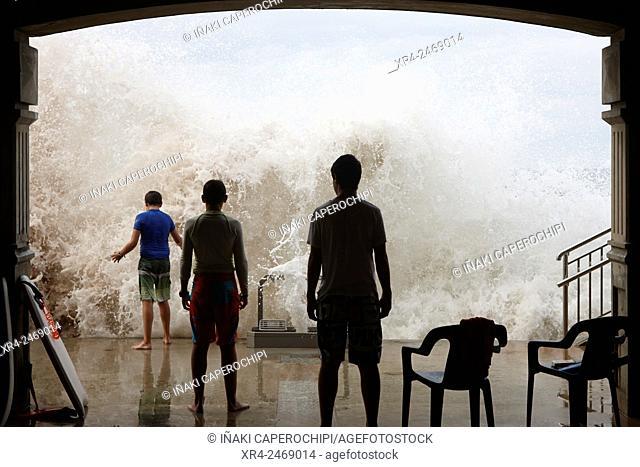 Waves crashing on pier, Zarautz, Gipuzkoa, Basque Country, Spain