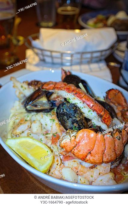 Seafood dish with lobster tails, shrimps and mussels clams