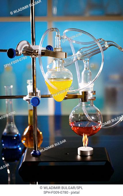 Laboratory flasks used in a chemistry experiment