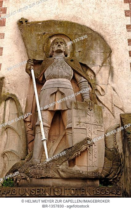 St. George and a dragon at the Catholic Pilgrimage Church of St. Martin, marketplace, Endingen am Kaiserstuhl, Baden-Wuerttemberg, Germany, Europe
