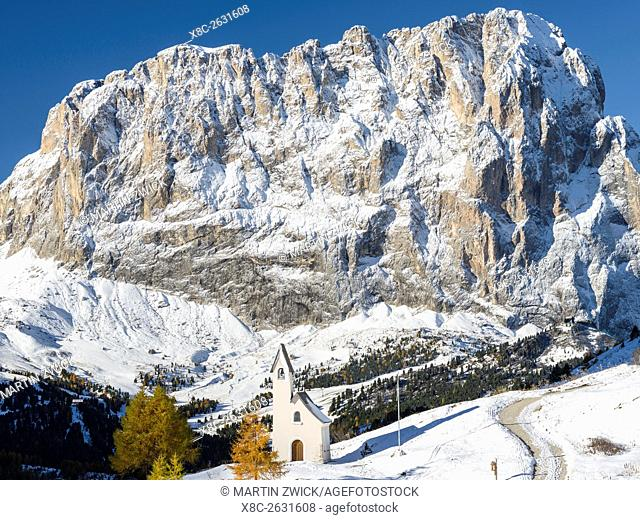 Mount Langkofel - Sassolungo and the chapel at Groedner Joch - Passo Gardena in the Dolomites of South Tyrol - Alto Adige
