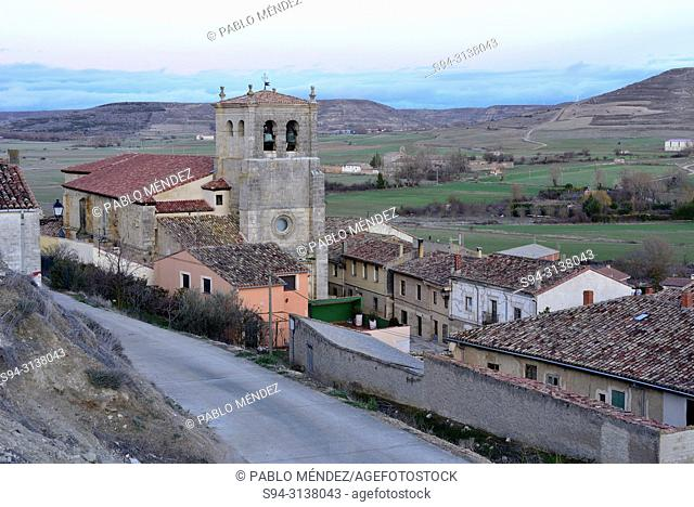 View of the church of Santo Domingo in Castrojeriz, Burgos, Spain