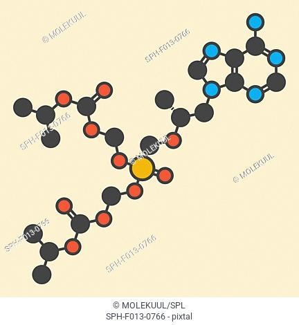 Tenofovir disoproxil HIV drug molecule. Stylized skeletal formula (chemical structure). Atoms are shown as color-coded circles: hydrogen (hidden), carbon (grey)