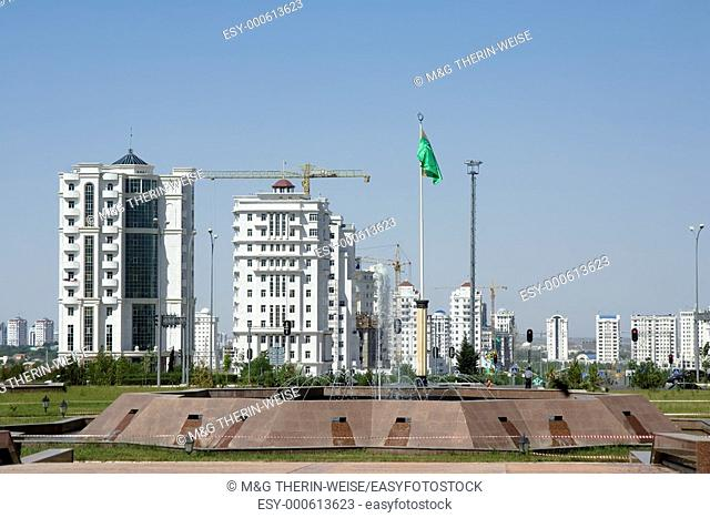 View from the National Museum over the new buildings, Ashgabat, Turkmenistan