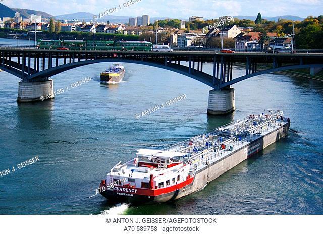 Oil tanker. Rhine river. Basel. Switzerland
