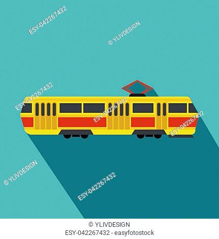 Tram icon. Flat illustration of tram vector icon for web design