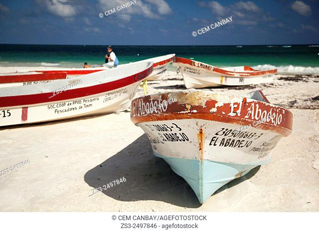 Fishing boats at the beach, Tulum, Cancun, Quintana Roo, Yucatan Province, Mexico, Central America