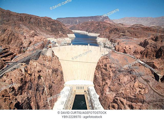 Hoover Dam situated in the Black Canyon of the Colorado River between the Arizona and Nevada border line USA April 2014