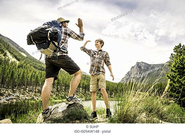 Full length view of father and son doing high five, Red Lodge, Montana, USA