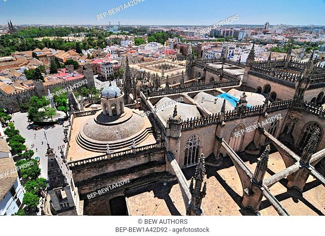 View from the top of the Giralda tower over the Cathedral, the Plaza del Triunfo and the Alcazar, Seville, Andalucia, Spain
