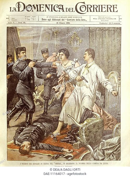 History, 20th century - Murder of the king and queen of Serbia in Belgrade, 1903. Cover illustration from La Domenica del Corriere