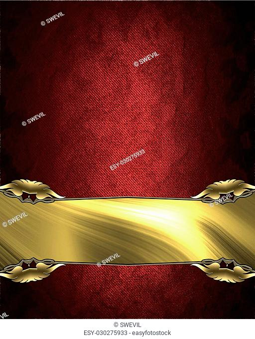 Red velvet texture with a rich golden nameplate. Element for design. Template for design. copy space for ad brochure or announcement invitation