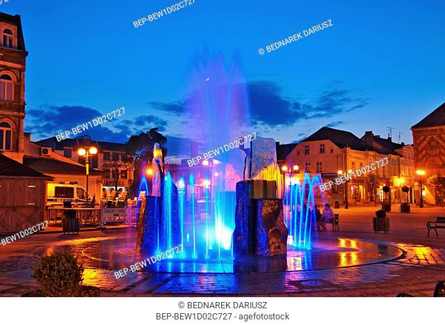 Fountain in the Market square. Inowroclaw, Kuyavian-Pomeranian Voivodeship, Poland