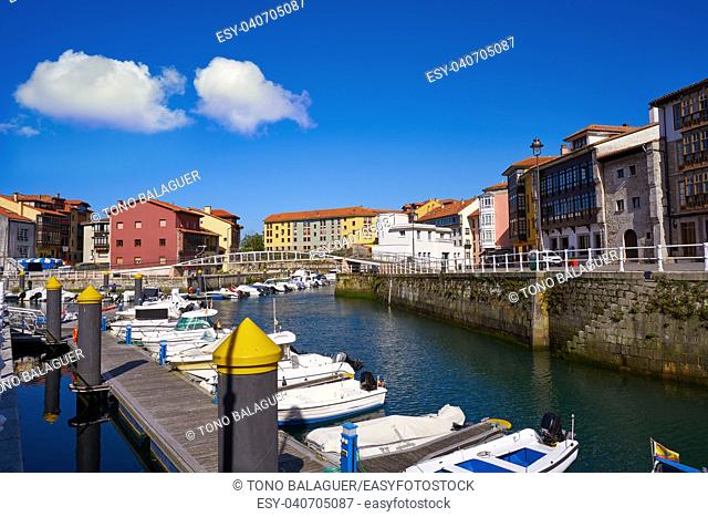 Llanes village port marina in Asturias of Spain