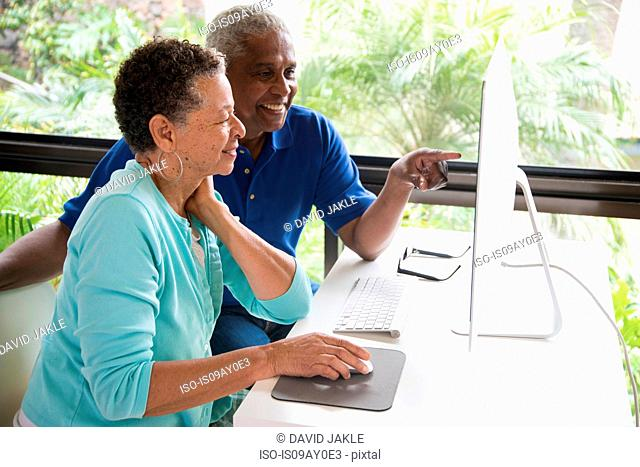 Senior couple sitting at table, using computer