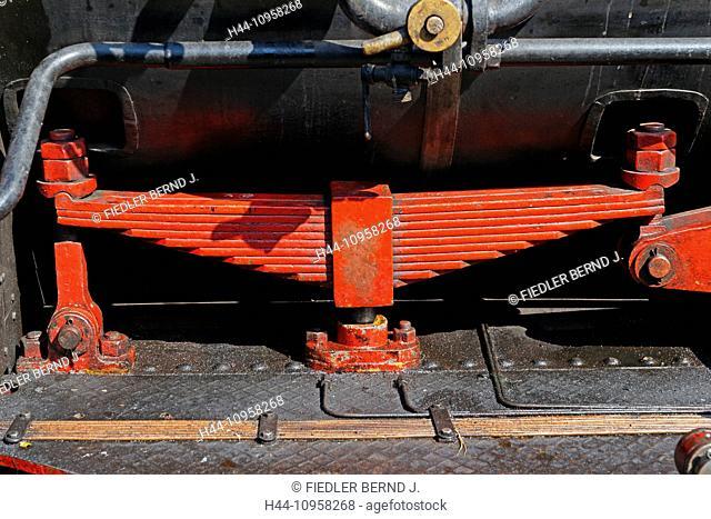 Europe, Germany, Rhineland-Palatinate, Elmstein, Bahnhofstrasse, railway station, locomotive, Kuckucksbähnel, railroad, steam, vapour, detail, vehicles, vessels