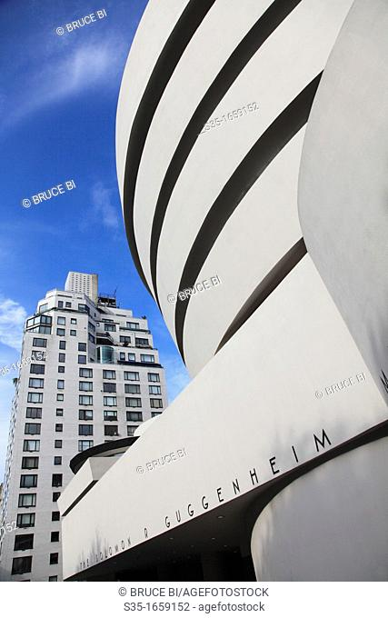 The exterior view of Solomon R  Guggenheim Museum from Fifth Avenue in upper town Manhattan  New York City  USA