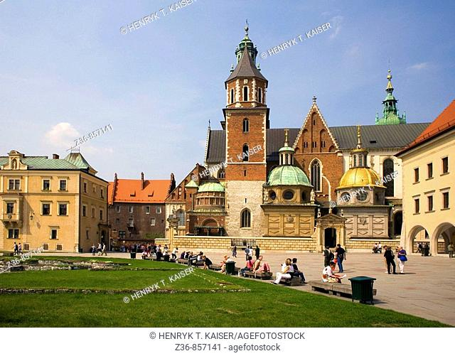 Poland, Krakow, Sigismund's Cathedral and Chapel as part of Royal Castle at Wawel Hill