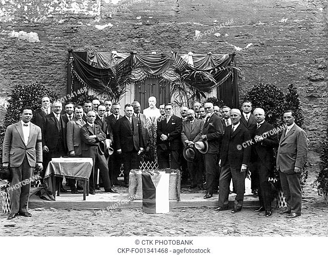 Celebration during placing of the foundation stone to the building of Czechoslovak News Agency, September 24, 1928. CTK Vintage Photo