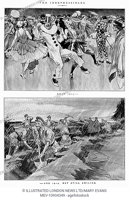 Xmas 1913 - and 1914, but still smiling. The irrepressible spirit of the British Tommy illustrated by J. H. Thorpe in December 1914