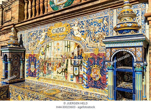 Antique ceramic, wall tiles representing provinces and cities of Spain ,Province Cadiz , Placa de Espana, spanish square, Seville, Andalusia, Spain