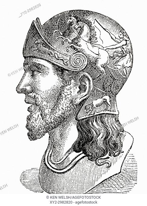 Masinissa or Masensen, c. 238 - 148 BC, also spelled Massinissa and Massena. First King of Numidia. From Ward and Lock's Illustrated History of the World