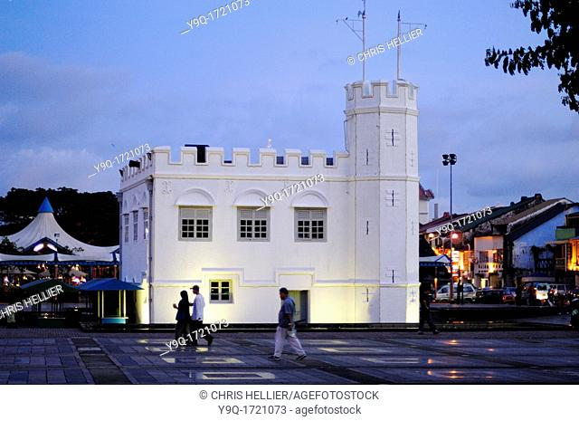 Colonial Tower or Fortress on the Riverfront at Kuching Sarawak Borneo Malaysia