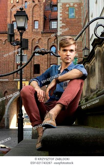 Young handsome man on street, old town Gdansk