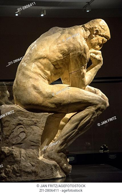 statue 'The Thinker' from Rodin, museum, Groningen, Holland