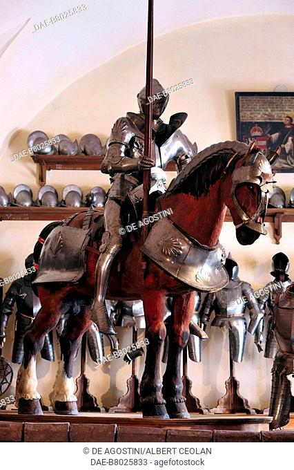 Armored knight and horse, Armory of Churburg Castle, the largest private armory in the world, Churburg Castle, 1260, Schluderns, Bolzano, Trentino-Alto Adige