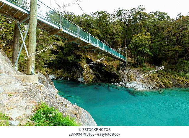 Blue Pools in Mount Aspiring National Park, New Zealand
