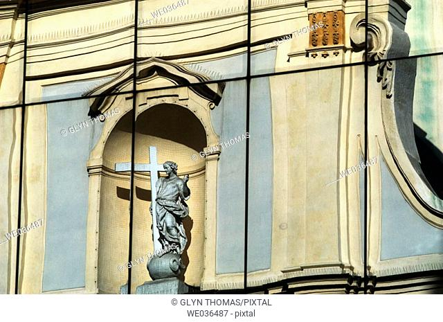 Reflection of the Stiftskirche in an office building on the Stiftsgasse Vienna Austria Europe