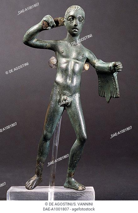 Hercules with a club, bronze statuette. Etruscan civilisation, 3rd-2nd century BC.  Fiesole, Archaeological Museum