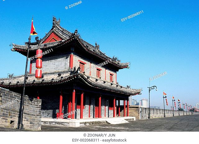 Landmark of the famous ancient city wall of Xian